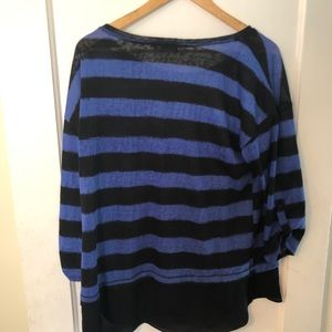 AGB Tops - Black and blue long sleeve shirt